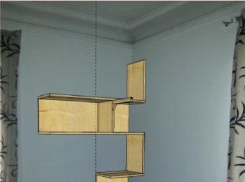 Bureau et etagere d'angle design